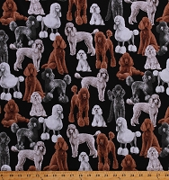 Cotton Poodles Curly Dogs Animals Pets Puppies Doggie Canine Cotton Fabric Print by the Yard (GM-C7527-BLACK)