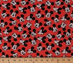 Cotton Mickey Mouse Faces Portraits on Red Disney Mickey Face Toss Kids Cotton Fabric Print by the Yard (69073-D650715)