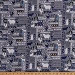 Cotton FFA Future Farmers of America Forever Blue Quotes Motto Agricultural Education Farming Farm Animals Barns Tractors Blue Cotton Fabric Print by the Yard (C7210-GRAY)