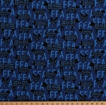 Cotton Farm Animals Cuts of Meat Charts FFA Future Farmers of America Forever Blue Agricultural Education Farm Blue Cotton Fabric Print by the Yard (C7214-BLUE)