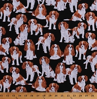 Cotton Dogs Puppies Cavalier King Charles Cocker Spaniel Animals Pets Canine Cotton Fabric Print by the Yard (GM-C7366-BLACK)