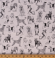 Cotton Mixed Dogs Breeds Canine Animals Black and White Cotton Fabric Print by the Yard (DOG-C8240)