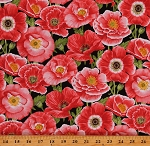 Cotton Poppies Pink Poppy Flowers Floral on Black Cotton Fabric Print by the Yard (1985-89)