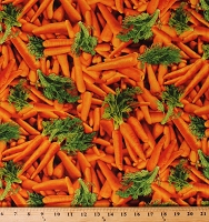 Cotton Carrots Bunches of Carrots Garden Vegetables Farmer's Market Produce Country Kitchen Cotton Fabric Print by the Yard (FOOD-C6439-ORANGE)