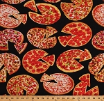 Cotton Whole Pizzas on Black Pizza Slices Food Kitchen Cotton Fabric Print by the Yard (MICHAEL-C6972-BLACK)