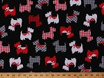 Cotton Scottish Terrier Scotty Dog Dogs Animals Pets Red Black White Cotton Fabric Print by the Yard 07887-12)