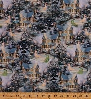 Cotton The Night Before Christmas Village Houses Snowmen Snowy Hills Pines Trees Multicolor Cotton Fabric Print by the Yard (05454-99)