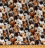 Cotton Puppies Animals Breeds Cats Dogs Chickens Multicolor Cotton Fabric Print by the Yard (1697Z)