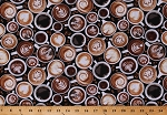 Cotton Coffee Hot Drinks Beverages Mugs Cups Lattes Mocha Espresso Beans Cotton Fabric Print by the Yard (COFFEE-C7257)