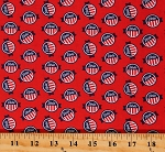 Cotton Voting Badges Vote Election Pins Your Vote Counts America Red Cotton Fabric Print by the Yard (01848-10)
