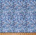 Cotton Mosaic Tiles Squares Mosaic Masterpiece Sky Blue and White Cotton Fabric by the Yard (S4808-16-SKY)