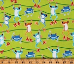 Cotton Glow in the Dark Frogs Jumping Hopping Hanging Swinging Animals Just Chillin Lime Cotton Fabric Print by the Yard (9832GL-40)