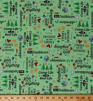 Cotton Campers Adventure Camping Quotes S'mores Camp Life Kids Cotton Fabric Print by the Yard (C9211-GREEN)