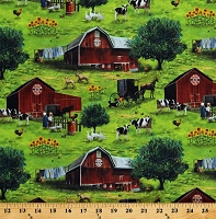 Cotton Scenic Farm Barns Animals Cows Amish Country Paradise Green Cotton Fabric Print by the Yard (DP23068-74)