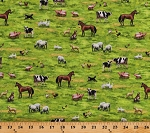 Cotton Farm Animals Pasture Horses Cows Pigs Sheep Geese Chickens Cats Dogs Country Paradise Green Cotton Fabric Print by the Yard (DP23069-74)