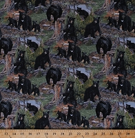 Cotton Black Bears Bear Cubs Animals Wildlife Nature Pine Trees Northwoods The Honey Tree Cotton Fabric Print by the Yard (6901GREEN)