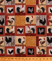 Cotton Rooster Inn Roosters Patchwork Squares Chickens Farm Farming Fowl Birds Country Kitchen Cotton Fabric Print by the Yard (112-31121)