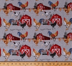 Cotton Chickens Roosters Chicks Red Barns Barnyard Animals Farm Chicken Scratch Cotton Fabric Print by the Yard (B-9301-90)