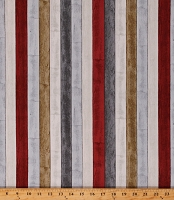 Cotton Stripes Wooden Planks Boards Striped Red Gray Tan Cotton Fabric Print by the Yard (53132-X)