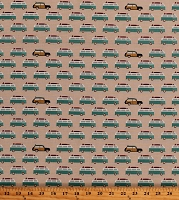 Cotton Camper Camping Vans Cars Vehicles Summer Vacation Retro Transportation Offshore 2 Tan Cotton Fabric Print by the Yard (C7983 TAN)