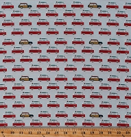 Cotton Camper Camping Vans Cars Vehicles Summer Vacation Retro Transportation Offshore 2 BlueCotton Fabric Print by the Yard (C7983 TAN)