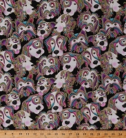 Cotton Dogs Multi-Color Animals Pets Faces on Black Let's Face it Dog On It Cotton Fabric Print by the Yard (6253M-12)
