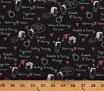Cotton 1950s 50's Inspired Together Forever Cartoons Dating Love Words Going Steady Cotton Fabric Print by the Yard (43280-5)