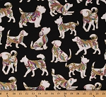 Cotton Dogs Playing Pups Dog On It Black Cotton Fabric Print by the Yard (6254M-12)