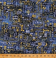 Cotton Stars Moon I Love You To The Moon And Back Blue Cotton Fabric Print by the Yard (STAR-C8352-YELLOW)