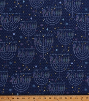 Cotton Happy Hanukkah Menorah Candles Star of David Jewish Hebrew Faith Blue Cotton Fabric Print by the Yard (1649-27165-N)