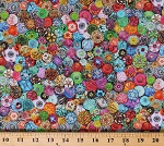 Cotton Buttons Craft Room Colorful Sewing Emporium Cotton Fabric Print by the Yard (ATXD-19627-200VINTAGE)