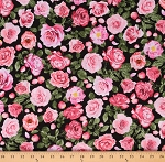 Cotton Floral Bohemian Roses Pink Flowers on Black Cotton Fabric Print by the Yard (FLEUR-C8067)
