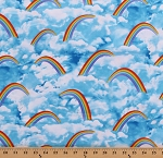 Cotton Rainbows Clouds Sky Blue Cotton Fabric Print by the Yard (GAIL-C8232)