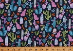 Cotton Cactus Cacti Floral Desert Flowers Plants Succulents Colorful Nature Southwestern Navy Cotton Fabric Print by the Yard (STELLA-1591-PATRIOT)