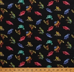 Cotton Frogs Reptiles Toads Poison Dart Frogs Animals Kids Jewels of the Jungle Black Cotton Fabric Print by the Yard (5562-99)