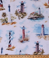Cotton Lighthouses Beach Watercolor-look Summer White Shoreline Stories Cotton Fabric Print by the Yard (S4800-511-BLUFF)