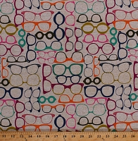 Cotton Glasses Colorful Eyeglasses Reading Glasses Spectacles Bifocals Eyewear on Beige Vision Optics Optometry Optometrists Opticians Optical 20/20 Jewel Cotton Fabric Print by the Yard (cx5951-jewe-d)