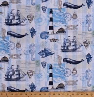 Cotton Nautical Motifs Lighthouses Seashells Ropes Ships Sailing Seaside Whales Seahorses Ocean Cotton Fabric Print by the Yard (BEACH-C6656-NEUTRAL)
