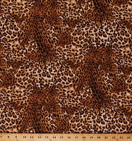 Cotton Leopard Print Big Cats Animal Print Skin Cotton Fabric Print by the Yard (WILD-C7232-BROWN)