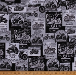 Cotton Motorcycles Motorcycle Quotes Transportation Classic Motorbikes America's Finest Black Cotton Fabric Print by the Yard (FUN-C8049)