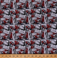 Cotton Spider-Man Comics Spiderman Comic Packed Multicolor Cotton Fabric Print by the Yard (71184-A620715)