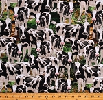 Cotton Animals Cows Farms Farmers Milking Green Cotton Fabric Print by the Yard (DONA-C8337-MULTI)