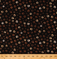 Cotton Dog Paws Animals Prints Dirty Paws Black Cotton Fabric Print by the Yard (PAW-C1846MUD)