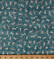 Cotton Woodland Animals Birds Fox Rabbit Owl Deer Wildlife Nature Where the Wise Thing on Blue Cotton Fabric Print by the Yard (1649-26531-Q)