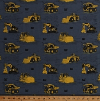 Cotton Construction Equipment Cat Logo Backhoe Dump Truck Yellow Vehicles on Gray Transportation Cotton Fabric Print by the Yard (C9100-BLUE)