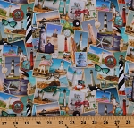 Cotton Southern Lighthouses Key West St. Augustine Mississippi Animals SunglassesTravel Multi-Color Cotton Fabric Print by the Yard (716565-A620715)
