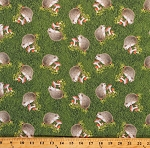Cotton Hedgehogs Mushrooms Hedges Cute Green Grass Cotton Fabric Print by the Yard (1242-66)