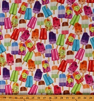 Cotton Dessert Popsicles Ice Cream Cold Treats Sweet Tooth White Cotton Fabric Print by the Yard (AMKD-19825-287SWEET)