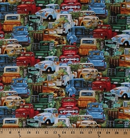 Cotton Vintage Trucks Old Vehicles Rustic Multi-Color on Green Cotton Fabric Print by the Yard (21002GREEN)