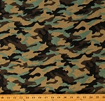 Cotton Camoflauge Hunting Camo Army Greens Browns Cotton Fabric Print by the Yard (107942)